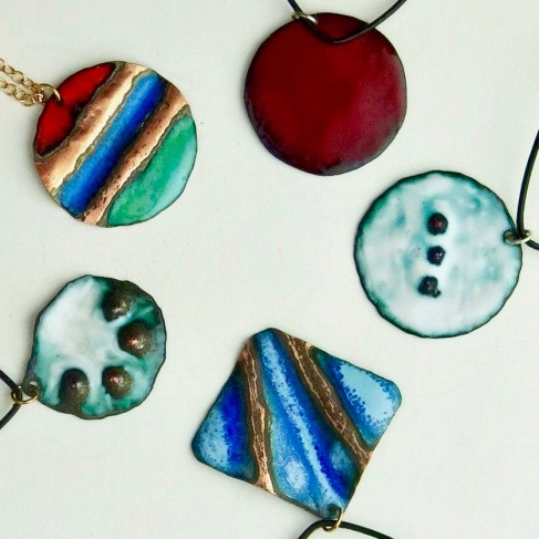 enamel pendants raised collection