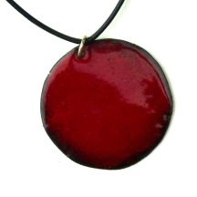 "Deep Red © Larry Knox Round Pendant (4cm) with Leather style 18"" Cord  with Silver attachments $70"