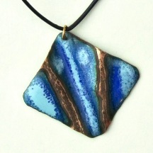"Looking Past the Tree Branches at the Night Sky © Larry Knox Square Shape Pendant (4cm) with Leather style 20"" Cord  with Silver and Bronze attachments $70"