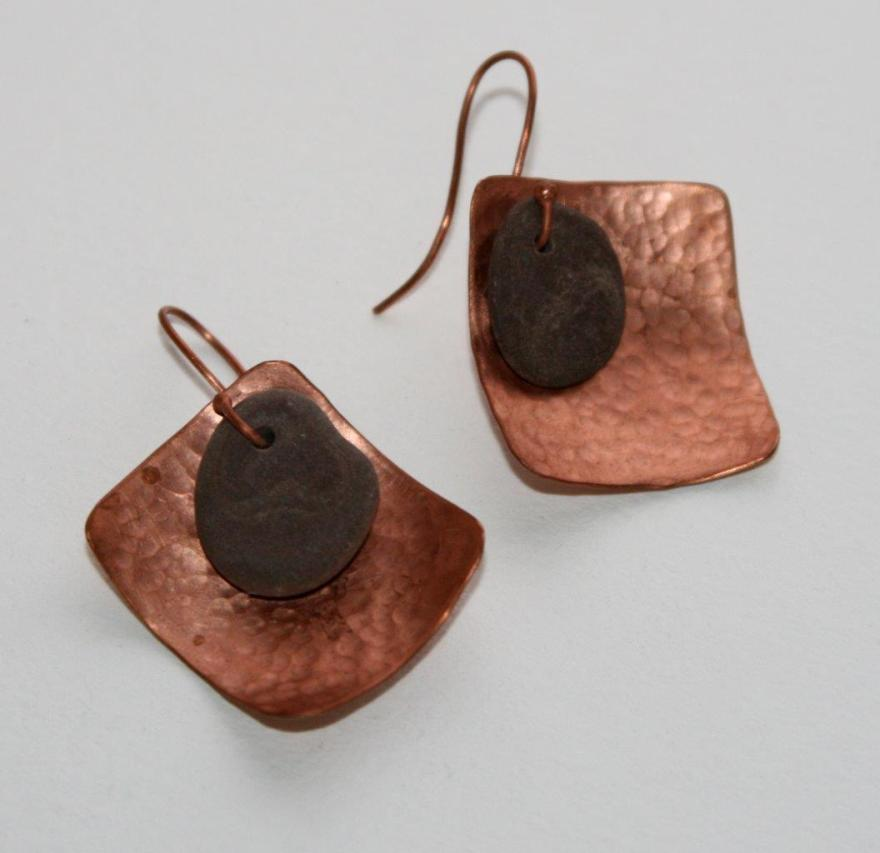 beach stone and copper earrings